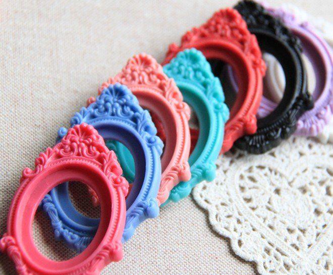 100 pezzi di cammeo in resina floreale con pendente miscela 30x40mm promozione moda