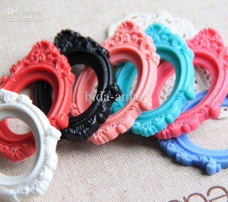 100 pcs of floral resin cameo setting pendant mixture 30x40mm fashion promotion
