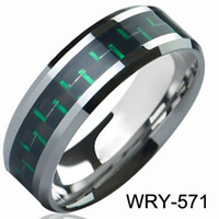 Wholesale Tungsten Rings Carbon Fiber Inlay - Brand New Tungsten Rings Green&Black Carbon Fiber Inlay wedding bands for men engagement Rings