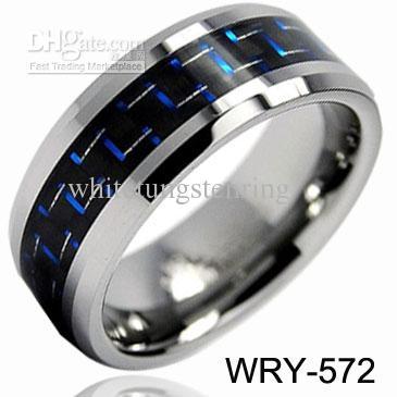 Fashion Jewelry Tungsten Rings Blue Black Carbon Fiber Inlay Wedding