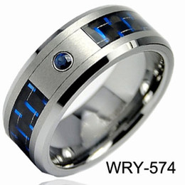 engagement solitaire diamond rings for men Canada - Brand New Tungsten Rings Diamond &Two Tone Carbon Fiber wedding bands for men engagement Rings