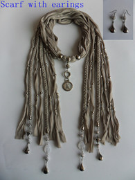 Wholesale Earings Pendants - Fashion accessories pendant scarves womens necklace cotton scarf mixed colors scarves with earings