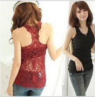 Wholesale Sexy Pierced Ladies - 2016 New Women t shirt lady Top Hollow out Vest Waistcoat Camisole Pierced Lace Sexy Casual Attractive