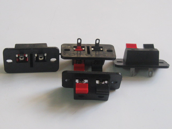 best selling 50 Pcs 38x19mm 2pin Red and Black Push Type Speaker Terminal Board Connector HOT Sale