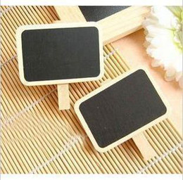 Wholesale Mini Message Blackboards - Lovely Household Wood Clip MINI Blackboard Wooden Clip Small Clamps Message Board