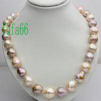 Wholesale Rainbow Pearls - BEAUTIFUL!GENUINE! RAINBOW BAROQUE PEARL NECKLACE