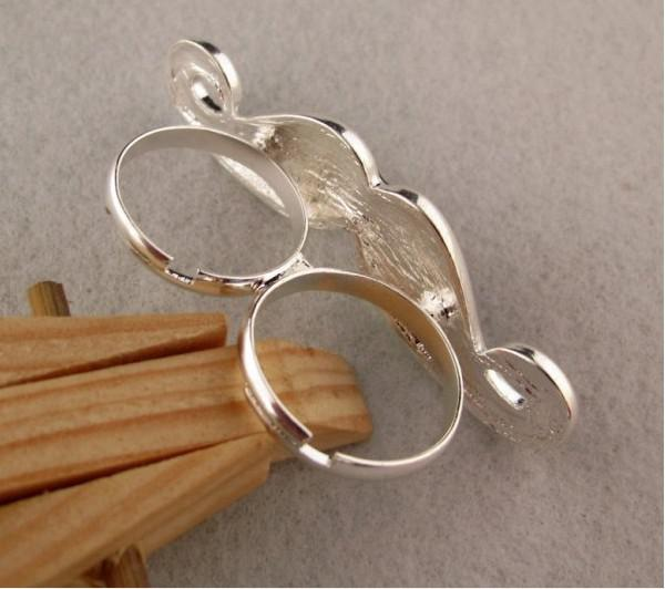 NEW arrived!!! fashion Double engagement ring open ring couple ring with beard shape 30pcs/lot