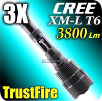 Wholesale Trustfire Lumens - 1PC Trustfire 3T6 Flashlight 5 Mode 3800 Lumens 3* CREE XM-L LED Flashlight High Power
