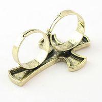 женщины с двойным крестом оптовых-Старинные шайба байкер регулируемая Silve / золото два пальца двойной крест мужские / женщины открытые кольца ювелирные изделия 50 шт. / лот