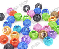 Wholesale Loose Basketball Beads - Wholesale 100PCS Mix Colors 12mm Loose Beads,Lots Basketball Wives Earrings Mesh Spacer Beads Craft Findings MB1203