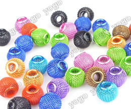 Wholesale Religious Halloween Crafts - Wholesale 100PCS Mix Colors 12mm Loose Beads,Lots Basketball Wives Earrings Mesh Spacer Beads Craft Findings MB1203