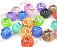 Wholesale Metal Basketball Bead - Wholesale 100PC 16mm Mix Colors Loose Beads,Lots Basketball Wives Earrings Mesh Spacer Beads Craft Findings MB1204