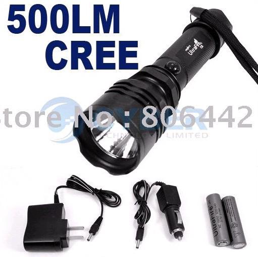 500 Lumen 3 Mode CREE Q5 LED Flashlight Torch+Car Charger+Portable charger +2 x 3200mAh Batteries