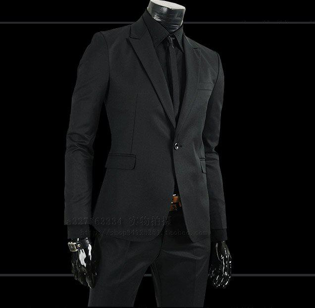 2017 Men Suit/Wedding Suit Business Suit Black Slim Luxury Dress ...