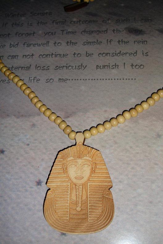 Hiphop Pharaoh King Tut 새로운 좋은 나무 펜던트 목걸이 천연 나무 조각