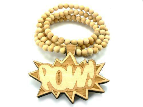 Hip Hop POW Stück gute hölzerne Ketten-Halsketten Natürliche Perlen Anhänger Mischfarben 20pcs lot