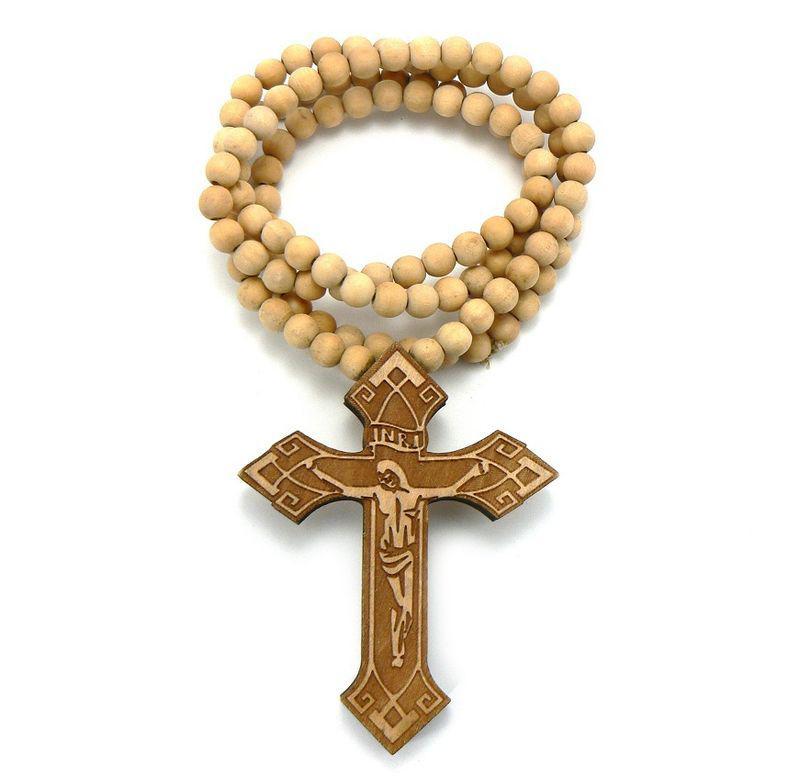 Houten Inri Jesus Cross Hanger met een 36 inch Hout Kralen Ketting Goede Ketting Gratis Shiipping