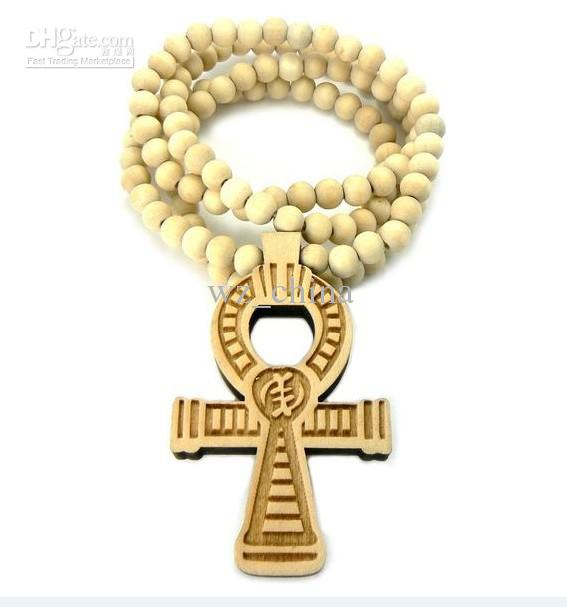 ANKH CROSS Good Quality Wood Pendant 36 Wooden Ball Chain Necklace