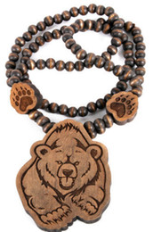 Wholesale Wooden Necklaces Bear - New Bear Wooden Pendant Bead Chain Necklace Good Wood Nyc Mascot Paw 10PCS LOT Free Shipping