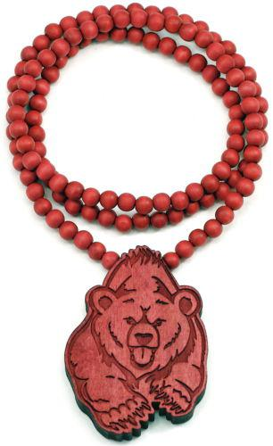 """BEAR Piece Hip Hop Good Wood Pendant with 36"""" Wooden Ball Chain Necklace"""