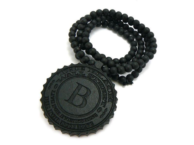 10st / mycket hip hop trä den svarta väggen gata hängsmycke + 36 tum bra trä pärlstav halsband kedja