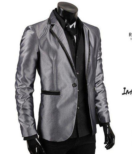 2017 Men's Suit Coat Top One Button Small Stripe Designer Blazer ...