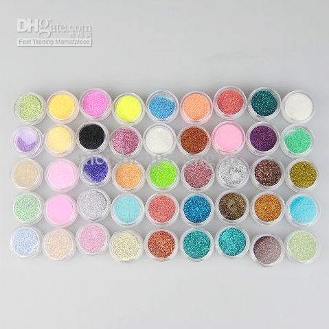 / 45 Kleuren Glitter Decoratie Poeder Crush Shell Bead Kleurrijke Glitter Porder voor Nail Art