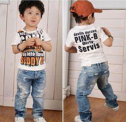 Wholesale Children Boy Pants Pocket - kids pants boys Girl Boys' Jeans baby clothes Children Jean baby pants Boy's Jeans Cowboy pants Holes pants trousers Children clothing.