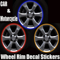 Wholesale Vinyl Line Tape - 50set LOT funny car decals Stickers CAR MOTORCYCLE RIM STRIPES WHEEL DECALS TAPE STICKERS car-styling