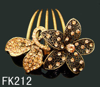 Wholesale Vintage Hair Combs - Wholesale hot sell Vintage Hair Jewelry flower rhinestone hair combs hair accessory Free shipping 12pcs lot mixed color FK212