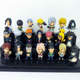 Wholesale Children Cartoon Background - 21 pcs set New Naruto Dolls Toys Black background doll Cartoon doll model Children kid Birthday gift ornaments