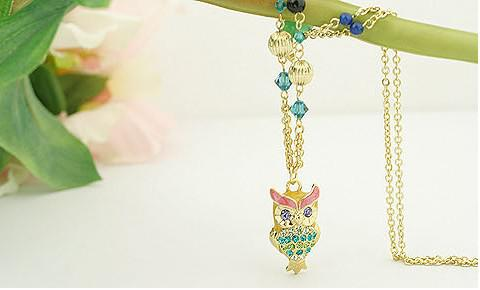 New Vintage Colorful crystals Owl Necklace pendant 30pcs/lot