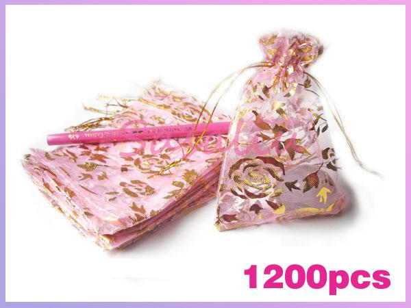 wedding favor organza pouch jewelry gift bag pink gold red light
