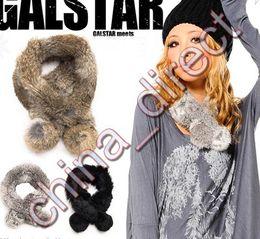 Wholesale Rabbit Fur Neck Warmer - Ladies women Rabbit fur Scarf Fur scarves Neck warmer Neckscarf 20pcs lot #1934
