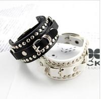 Wholesale New Models Men Bracelets - 2016 New Fashion unisex men women lady models rivets belt buckle bracelet hand chain bangle