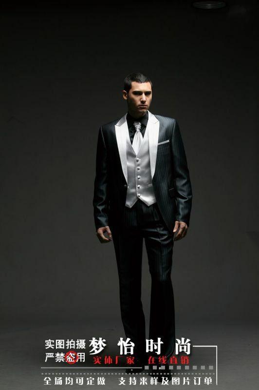 Hot Black Silver Men Suit Wedding Ball Gown Best Men Groom Tuxedos ...