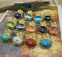 Wholesale Arty Rings - new women fashion antique gold arty big gemstone stone turquoise rings vintage style 14 color mix