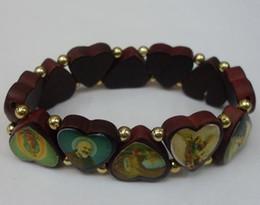 Wholesale 18k Gold Rosary - Mixed Jesus Bracelets Rosary Catholic 12mm Round Charm Beads Bracelet Brand New Factory Price 96pcs lot