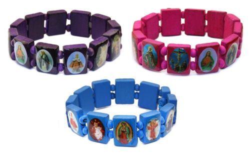 Saints Jezus Religieuze Houten Armband Katholieke Pictogram Rozenkrans Kralen Stretch Armbanden Paars Roze Blauw Gratis Verzending