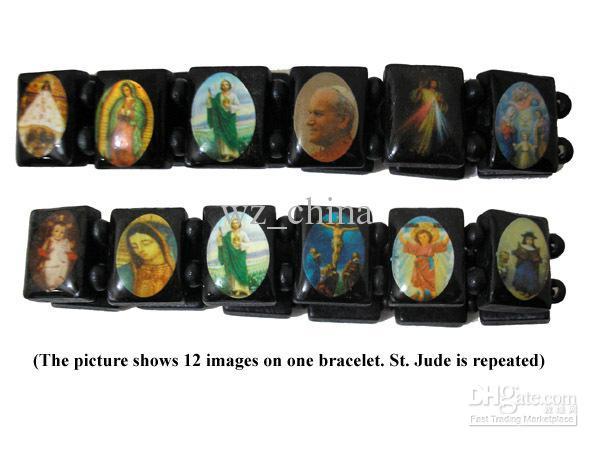 Saints Jesus Religiösa Trä Armband Katolska Ikon Rosary Beads Stretch Armband Lila Rosa Blå Gratis Frakt