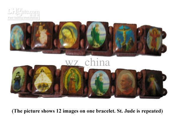 Blandade färger 3 Wood Saints Bracelet Virgin Maria Trä Jesus Armband Uk Religiösa Armband Gratis Frakt