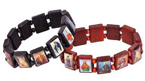 로트 3 나무 성도 팔찌 성모 마리아 나무 예수님 팔찌 영국 묵주 스트레치 팔찌 종교 보석 무료 배송