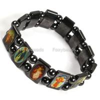 Wholesale Maria Bracelets - Lot 3 Wood Saints Bracelet Virgin Maria wooden Jesus Bracelets uk Rosary Stretch Bracelet Religious Jewelry Free Shipping