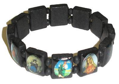 3 Wood Saints Armband Maagd Maria Houten Jesus Armbanden Britse rozenkrans stretch armband religieuze sieraden gratis verzending