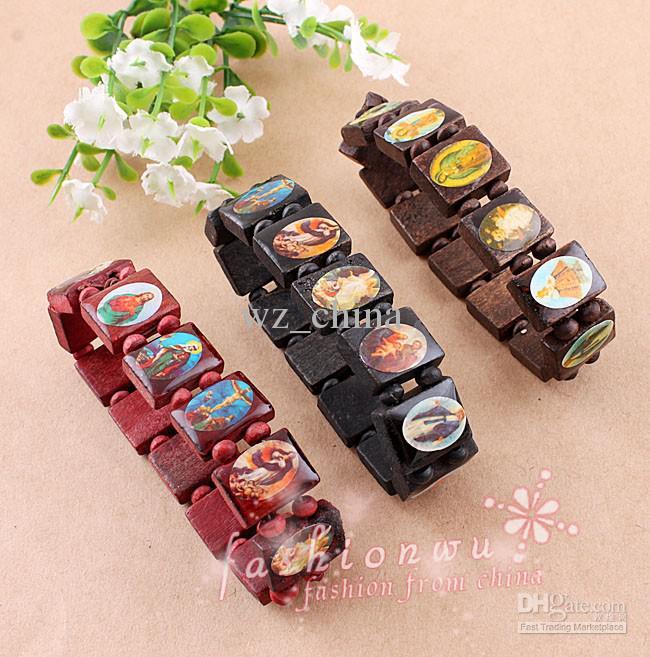 Mixed colors 3 Wood Saints Bracelet Virgin Maria wooden Jesus bracelets uk religious bracelets