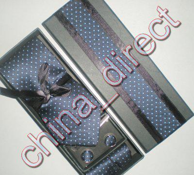 Luksusowy jedwabny krawat zestaw jedwabny krawat Hanky Cufflinks ręcznie szyi krawat z pudełkiem 10 zestawów / # 1942
