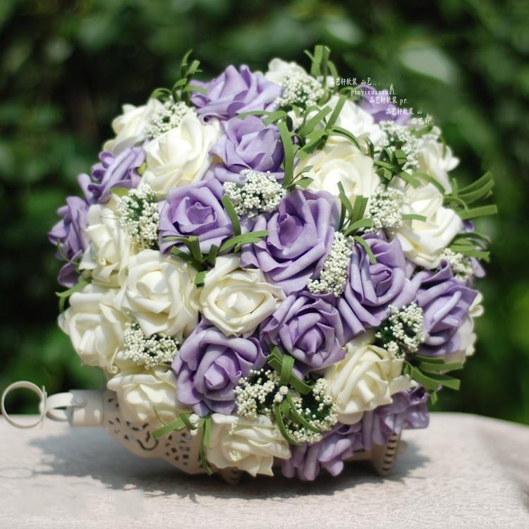 Purple Flower Wedding: Light Purple 15+White 15 PU Rose Wedding Flowers+Pearl