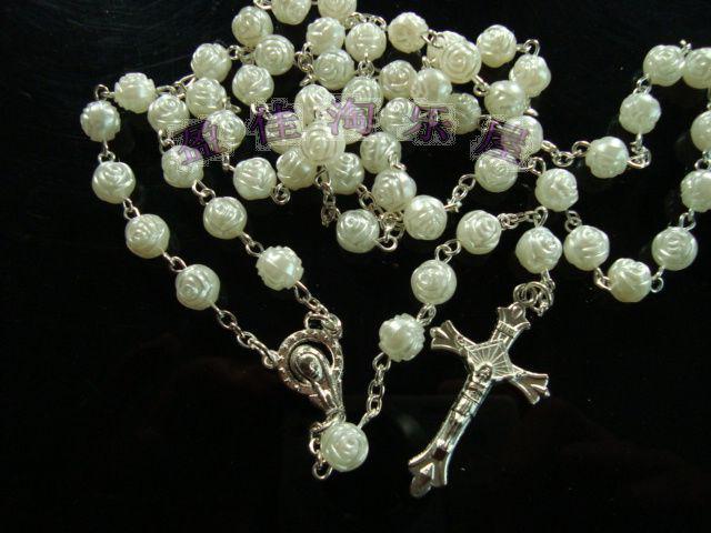 Perles blanches Cristal Chapelet Collier Chaîne Jésus Croix Pendentif Bijoux En Argent Pour Hommes / Livraison Gratuite