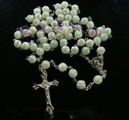 2019 rosario di cristallo bianco Monili d'argento 48pcs / lot degli uomini del pendente della traversa di Gesù della catena della collana del rosario di cristallo dei branelli bianchi Trasporto libero sconti rosario di cristallo bianco