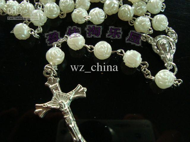 White Beads Crystal Rosary Necklace Chain Jesus Cross Pendant Mens Silver Jewelry